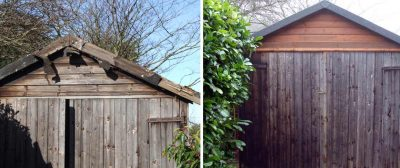 Timber Garage Refurbishment in Cromer Before & After